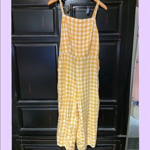 Old Navy Yellow and White Checkered jumpsuit